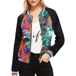 Graffiti Wall and Paint Splatter (Vest Style) All Over Print Bomber Jacket for Women (Model H21)