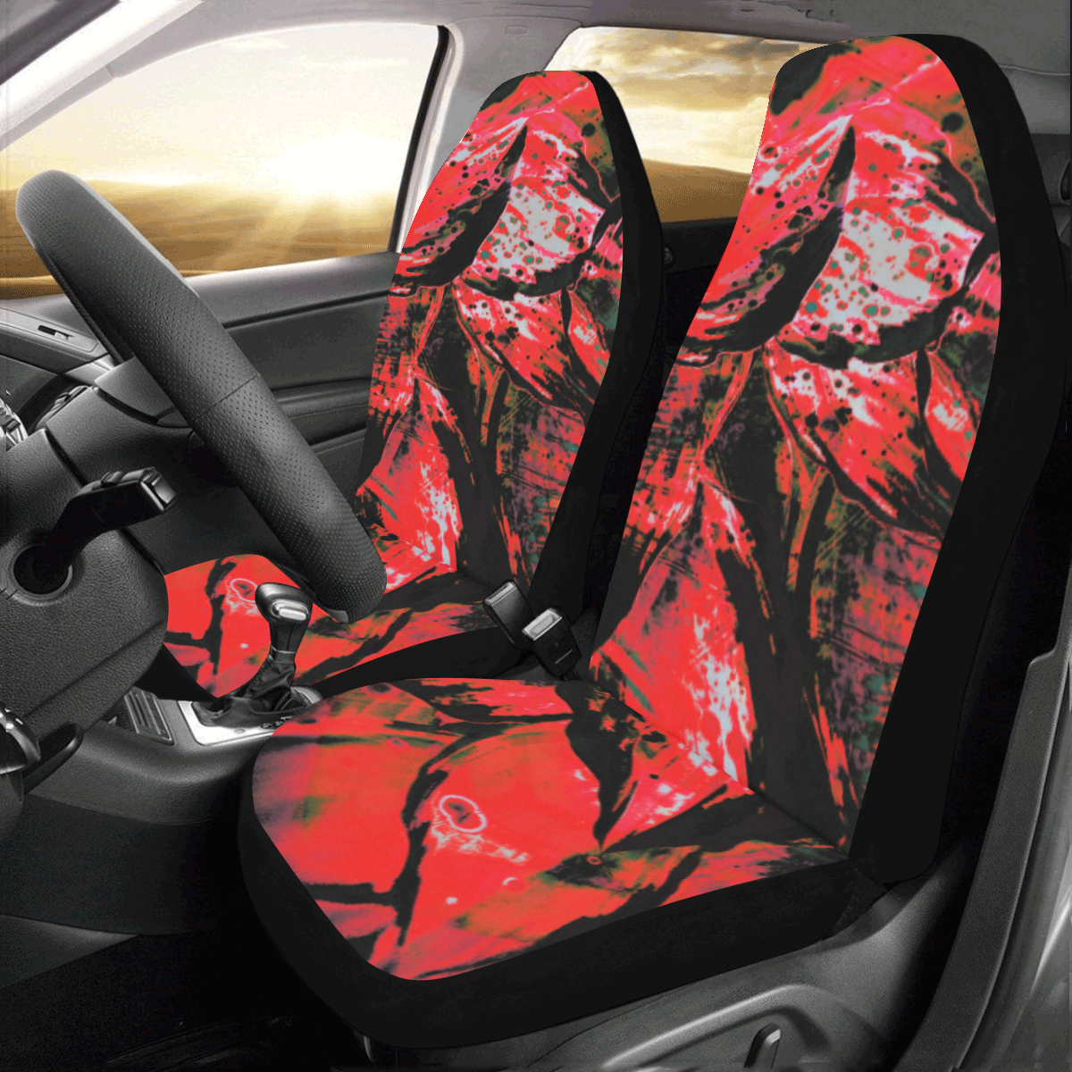 Red Dark Crew Unit Covers Car Seat Covers (Set of 2)