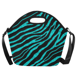 Ripped SpaceTime Stripes - Cyan Neoprene Lunch Bag/Large (Model 1669)