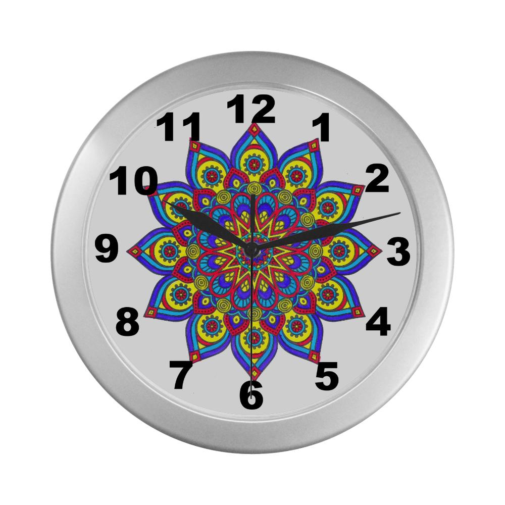 Brilliant Star Mandala Silver Color Wall Clock
