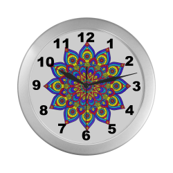 Brilliant Star Mandala Silver Color Wall Clock