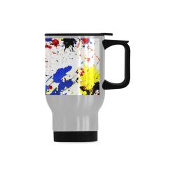 Blue and Red Paint Splatter Travel Mug (14oz)
