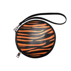 Tiger Stripes Black and Orange Round Makeup Bag (Model 1625)