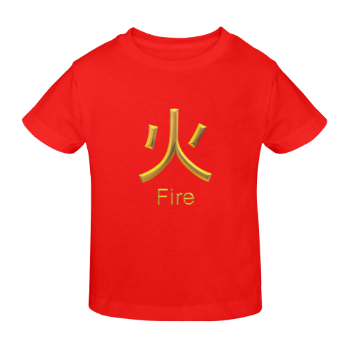 d-Golden Asian Symbol for Fire Sunny Youth T-shirt (Model T04)