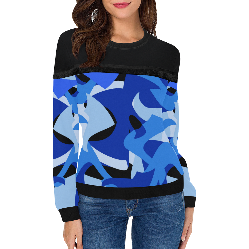 Camouflage Abstract Blue and Black Women's Fringe Detail Sweatshirt (Model H28)