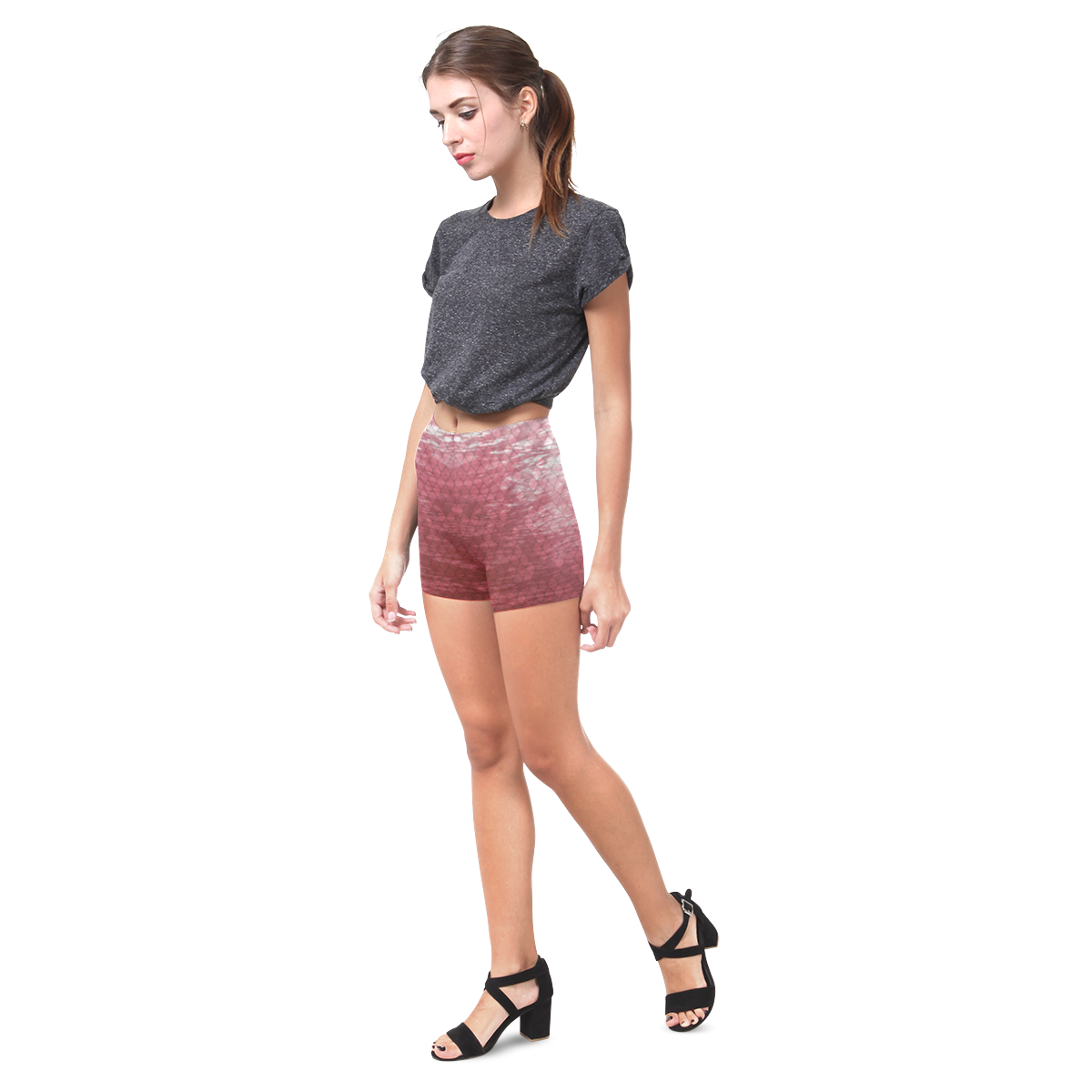 Snakeskin Lake Red Briseis Skinny Shorts (Model L04)