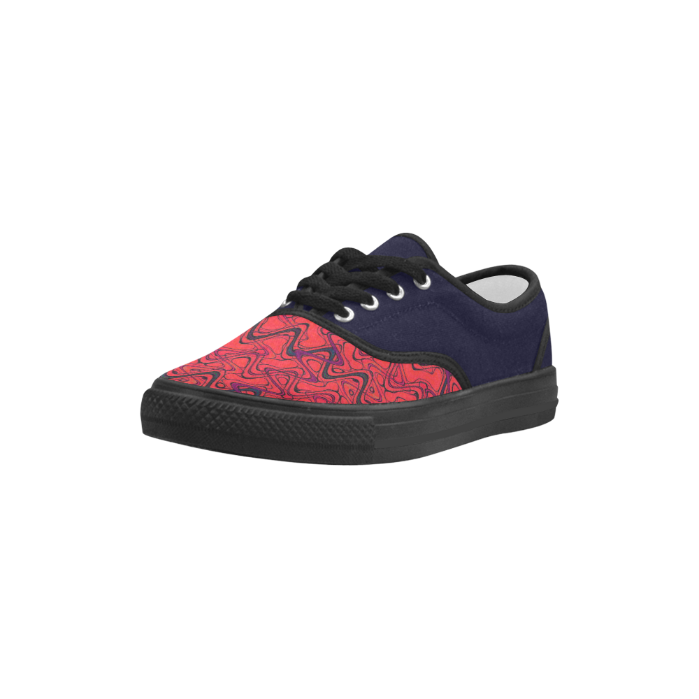 Red and Black Waves pattern design Aries Men's Canvas Shoes (Model 029)