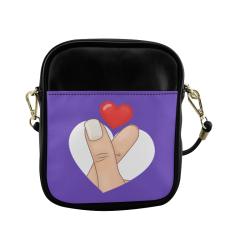 Hand and Finger Heart / Purple Sling Bag (Model 1627)