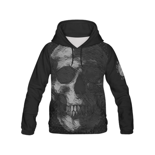 SKULL ART BW CRASSCO All Over Print Hoodie for Men/Large Size (USA Size) (Model H13)