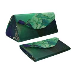 Green floral design Custom Foldable Glasses Case