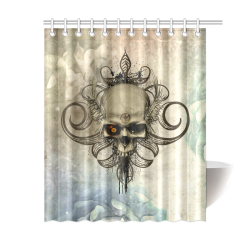 "Creepy skull, vintage background Shower Curtain 60""x72"""