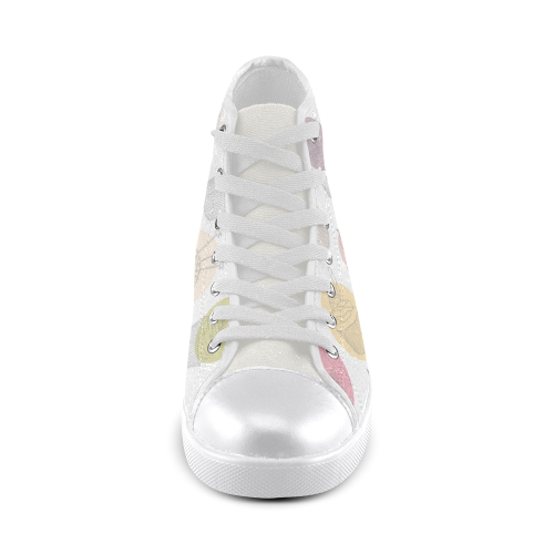 Colorful Cupcakes High Top Canvas Women's Shoes/Large Size (Model 002)