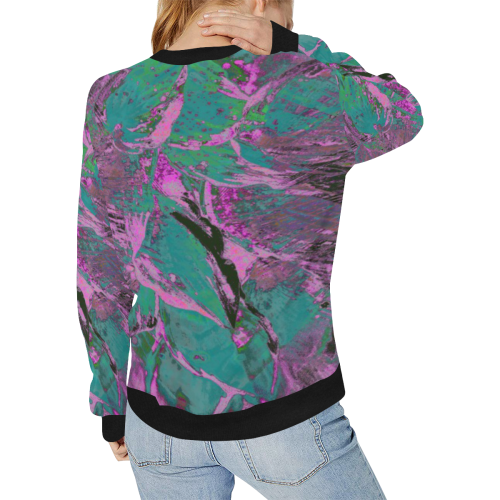 wheelVibe_8500 7 PINK BLACK GREEN low Women's Rib Cuff Crew Neck Sweatshirt (Model H34)