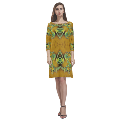 Gold and Green  Hearts  Lace Fractal Abstract Rhea Loose Round Neck Dress(Model D22)
