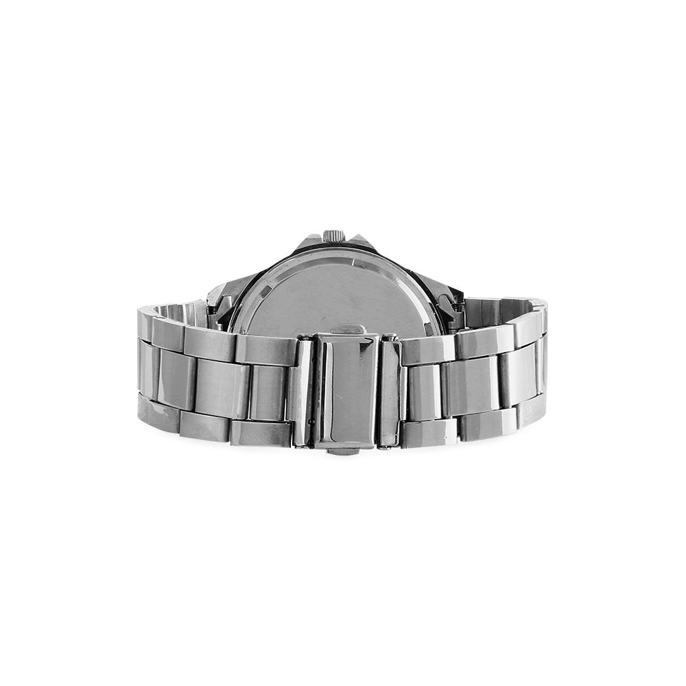 Silver Glitter Unisex Stainless Steel Watch(Model 103)