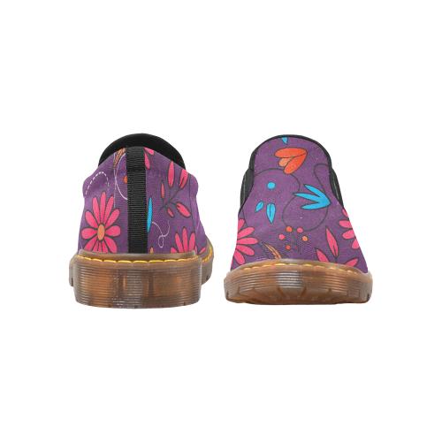 FLORAL DESIGN 3 Martin Women's Slip-On Loafer (Model 12031)