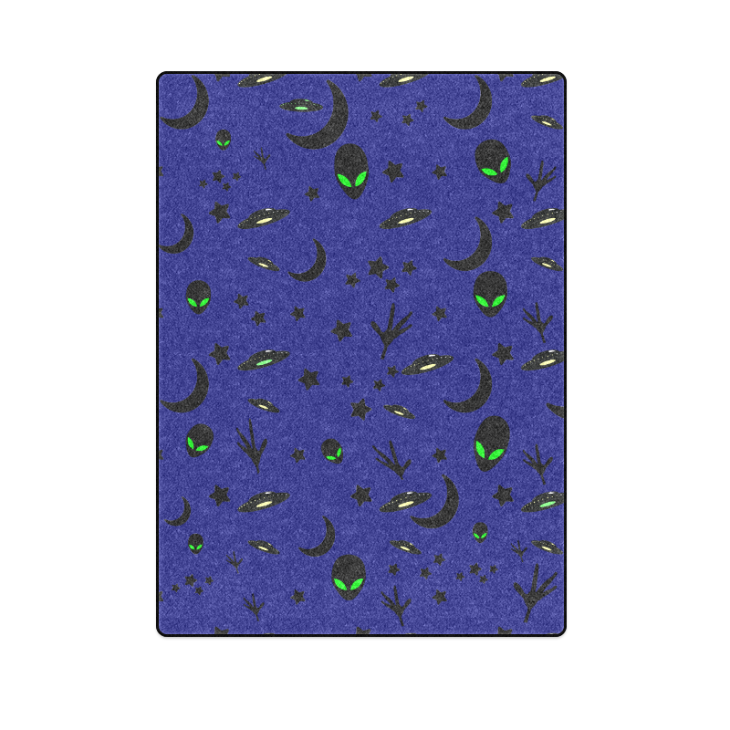 "Alien Flying Saucers Stars Pattern Blanket 58""x80"""