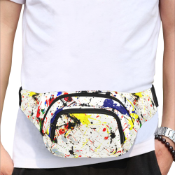 Blue, Yellow, Black & Red Paint Splatter Fanny Pack/Small (Model 1677)