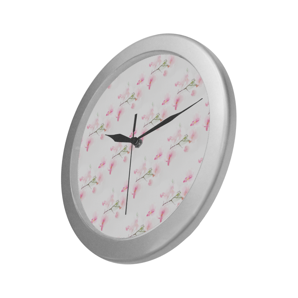 Pattern Orchidées Silver Color Wall Clock