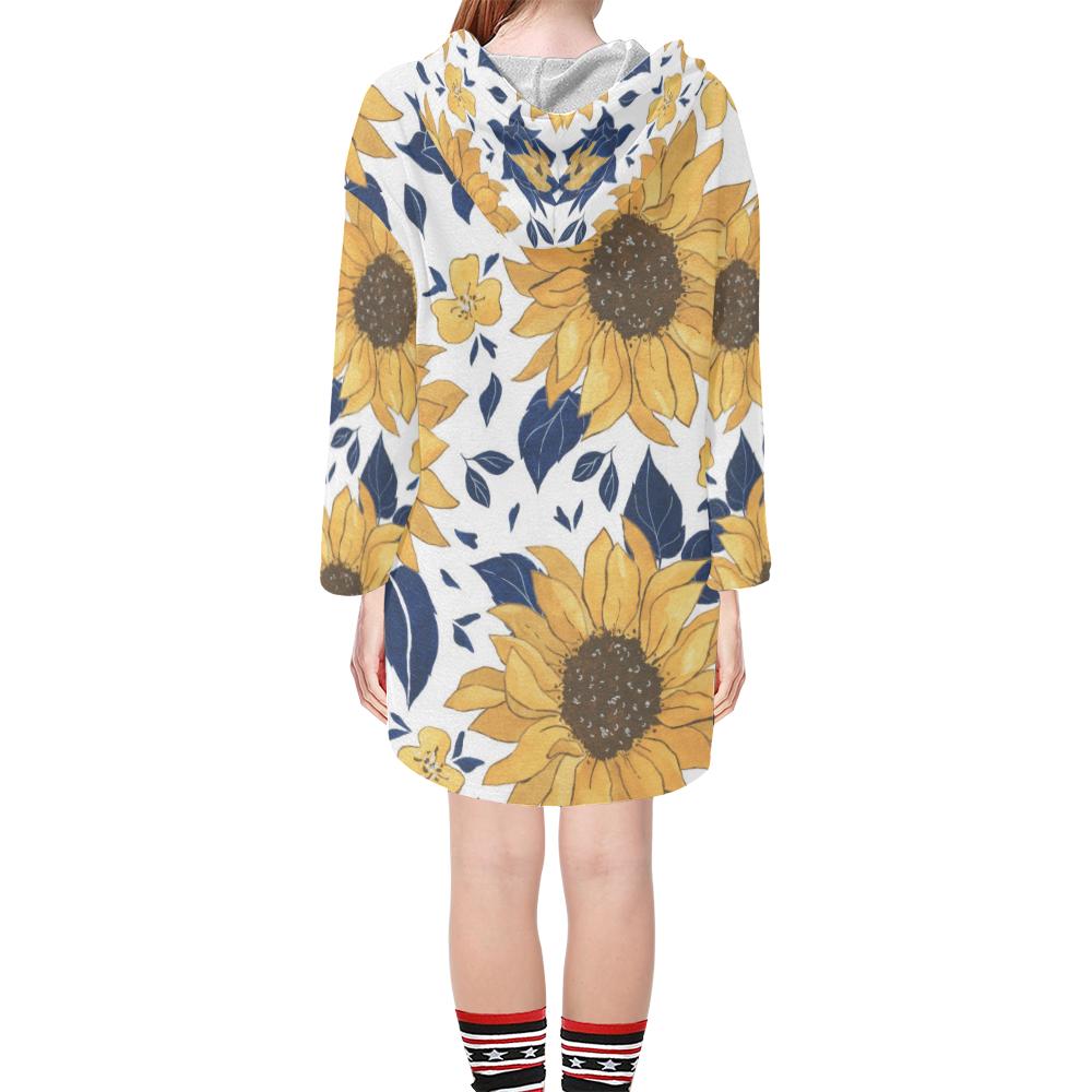 Sunflowers Step Hem Tunic for Woment Step Hem Tunic Hoodie for Women (Model H25)