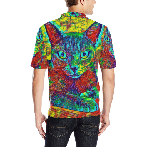ART CAT AMERA LUXURY POLO Men's All Over Print Polo Shirt (Model T55)