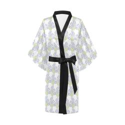 White Kimono Wrap With Lilac Colored Flowers Kimono Robe