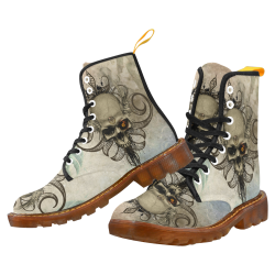 Creepy skull, vintage background Martin Boots For Men Model 1203H