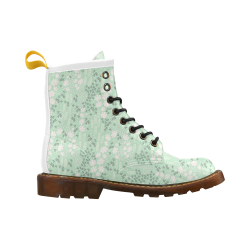 Mint Floral Pattern High Grade PU Leather Martin Boots For Men Model 402H