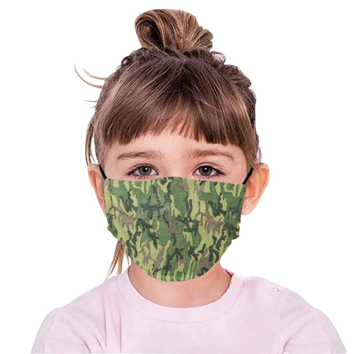 Military Camo Green Woodland Camouflage Pleated Mouth Mask with Drawstring (Model M06)
