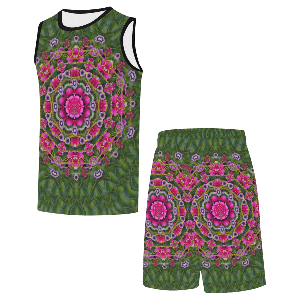 fantasy floral wreath in the green summer  leaves All Over Print Basketball Uniform