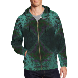 The Batical Fractal Zipper All Over Print Full Zip Hoodie for Men (Model H14)
