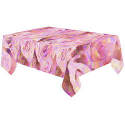"Pink roses Cotton Linen Tablecloth 60""x120"""