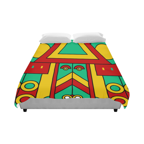 "Aztec Spiritual Tribal Duvet Cover 86""x70"" ( All-over-print)"
