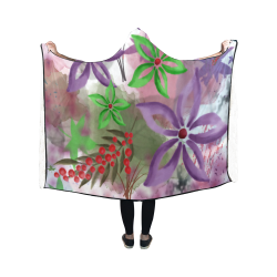 Flower Pattern - purple, violet, green, red Hooded Blanket 50''x40''