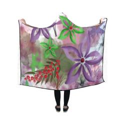 Flower Pattern - purple, violet, green, red Hooded Blanket 50''x40''