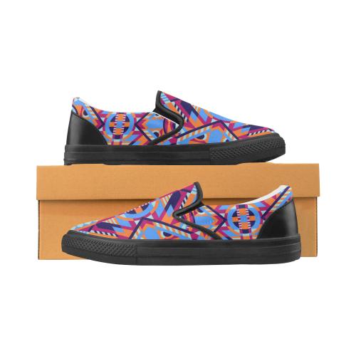 Modern Geometric Pattern Women's Slip-on Canvas Shoes (Model 019)