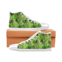 Tropical Jungle Leaves Camouflage Men's High Top Canvas Shoes (Model 002)