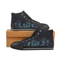 Blue Bubbles on Black Background Photo Women's Classic High Top Canvas Shoes (Model 017)