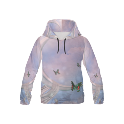 The moon with butterflies All Over Print Hoodie for Kid (USA Size) (Model H13)