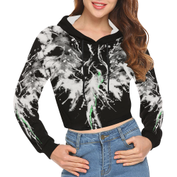 Phoenix - Abstract Painting Bird White 1 All Over Print Crop Hoodie for Women (Model H22)