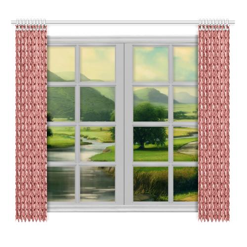 "Burgundy fold waves Window Curtain 52""x96""(Two Piece)"