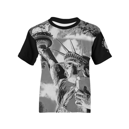 STATUE OF LIBERTY BLACK AND WHITE Kids' All Over Print T-shirt (Model T65)