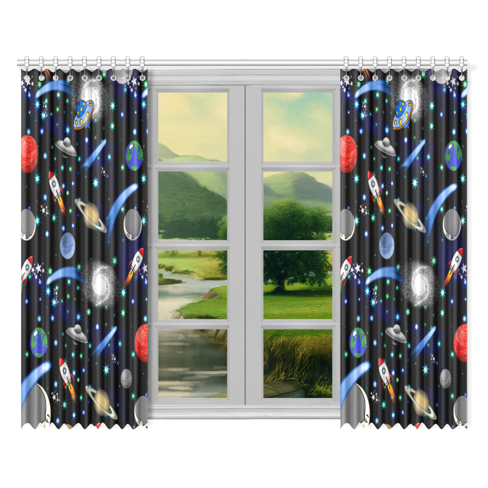 """Galaxy Universe - Planets,Stars,Comets,Rockets Window Curtain 52""""x84""""(Two Pieces)"""