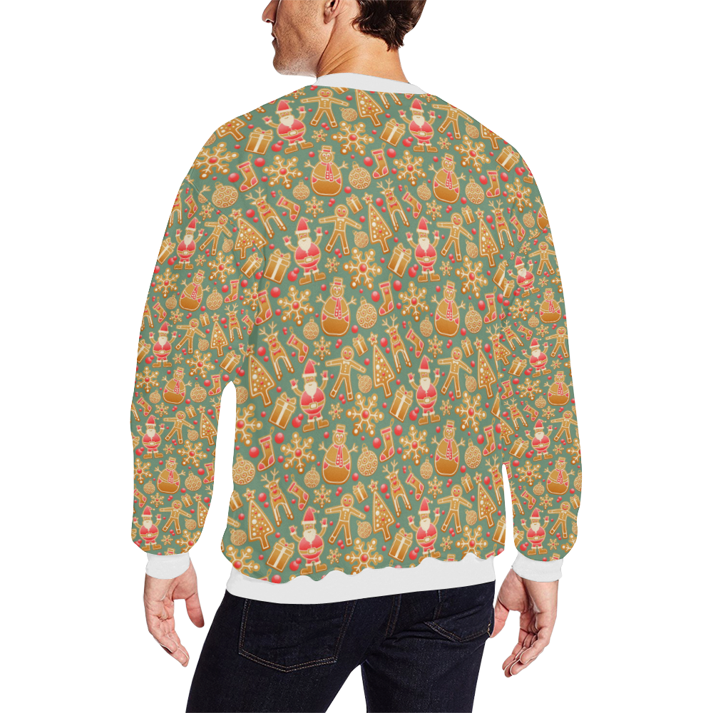 Christmas Gingerbread Icons Pattern All Over Print Crewneck Sweatshirt for Men/Large (Model H18)
