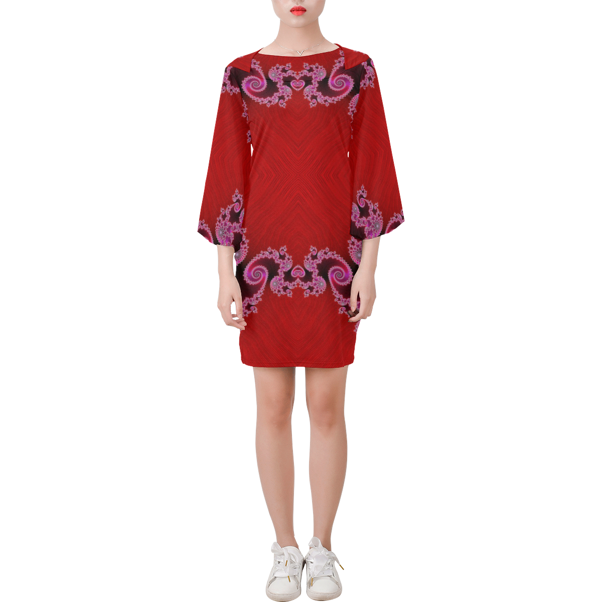 Red Pink Mauve Hearts and Lace Fractal Abstract 2 Bell Sleeve Dress (Model D52)