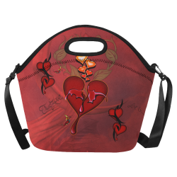 Wonderful hearts Neoprene Lunch Bag/Large (Model 1669)