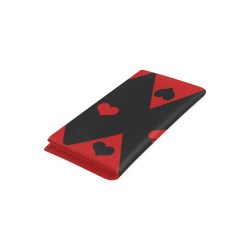 Black Red Play Card Shapes Women's Leather Wallet (Model 1611)