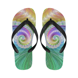 Frax Fractal Rainbow Flip Flops for Men/Women (Model 040)