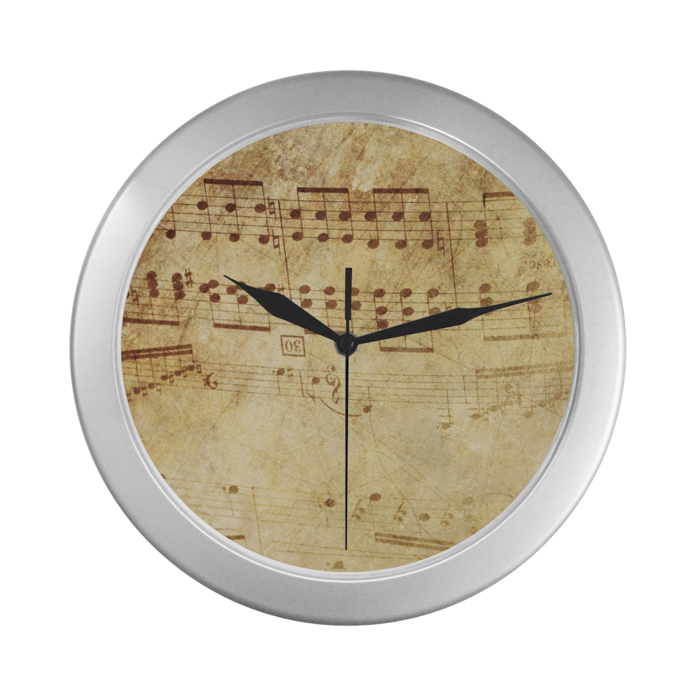 Silver Frame Wall Clock Classic Musicical Notes Grunge Style Wall Decor Silver Color Wall Clock