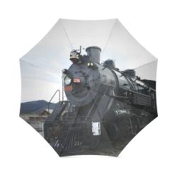 Railroad Vintage Steam Engine on Train Tracks Foldable Umbrella (Model U01)